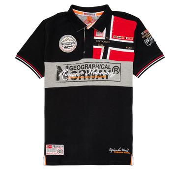 Oblečenie Chlapci Polokošele s krátkym rukávom Geographical Norway KIDNEY Čierna