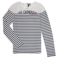 Oblečenie Dievčatá Tričká s dlhým rukávom Ikks DELLYSE Biela / Čierna