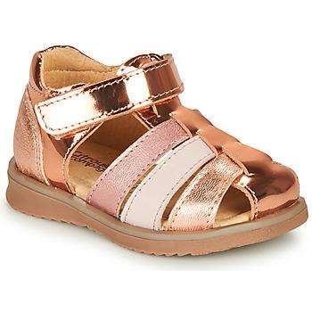 Topánky Dievčatá Sandále Citrouille et Compagnie FRINOUI Bronzová / Ružová