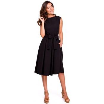 Oblečenie Ženy Šaty Style S161 Plisované šaty so zavinovacím chrbtom - čierne