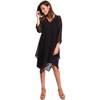 Oblečenie Ženy Šaty Style S159 Šifónové šaty s asymetrickým lemom - čierne