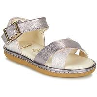 Topánky Dievčatá Sandále Clarks SKYLARK PURE T Strieborná / Ružová
