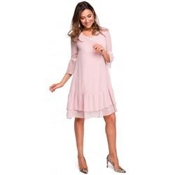 Oblečenie Ženy Dlhé šaty Style S160 Šifónové riasené boho šaty - púdrové