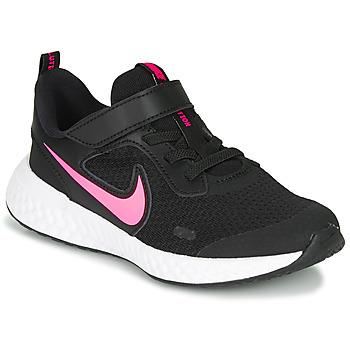 Topánky Dievčatá Univerzálna športová obuv Nike REVOLUTION 5 PS Čierna / Ružová