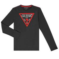 Oblečenie Chlapci Tričká s dlhým rukávom Guess HERVE Čierna