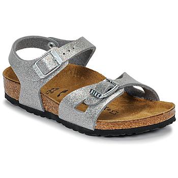 Topánky Dievčatá Sandále Birkenstock RIO Trblietkavá / Strieborná