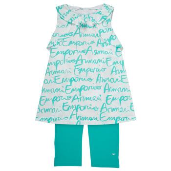 Oblečenie Dievčatá Komplety a súpravy Emporio Armani Adel Biela / Modrá