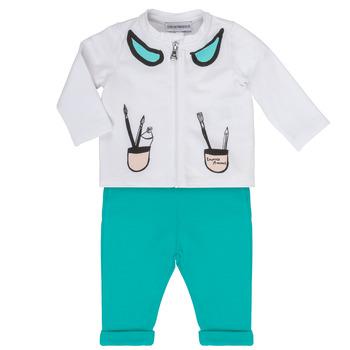 Oblečenie Dievčatá Komplety a súpravy Emporio Armani Aubin Biela / Modrá