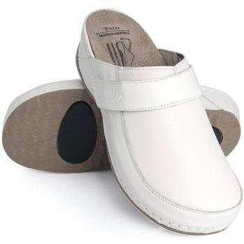Topánky Ženy Nazuvky Batz Dámske kožené biele šľapky ELENA biela