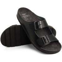 Topánky Muži Šľapky Batz Pánske kožené čierne šľapky ZENO čierna