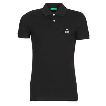 Oblečenie Muži Polokošele s krátkym rukávom Benetton  Čierna