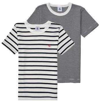 Oblečenie Chlapci Tričká s krátkym rukávom Petit Bateau 53333 Biela / Modrá