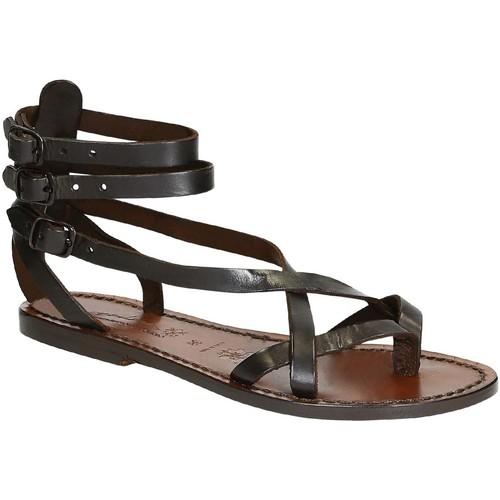 Topánky Ženy Sandále Gianluca - L'artigiano Del Cuoio 564 D MORO CUOIO Testa di Moro
