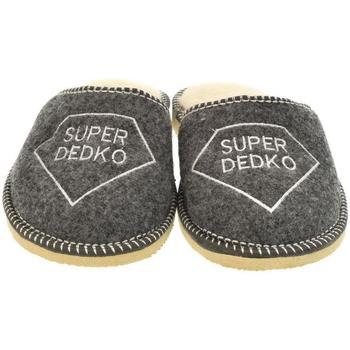 Topánky Muži Papuče Bins Pánske sivé papuče DEDKO20 tmavosivá