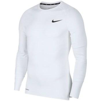 Oblečenie Muži Tričká s dlhým rukávom Nike Pro Top Compression Crew Biela