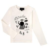 Oblečenie Dievčatá Tričká s dlhým rukávom Emporio Armani 6H3T01-3J2IZ-0101 Biela