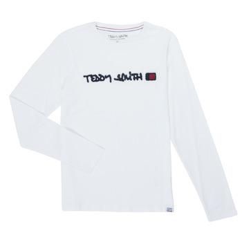 Oblečenie Chlapci Tričká s dlhým rukávom Teddy Smith CLAP Biela