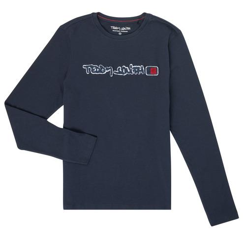 Oblečenie Chlapci Tričká s dlhým rukávom Teddy Smith CLAP Námornícka modrá