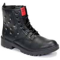 Topánky Dievčatá Polokozačky Geox CASEY Čierna