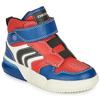 Topánky Chlapci Členkové tenisky Geox GRAYJAY Červená / Modrá