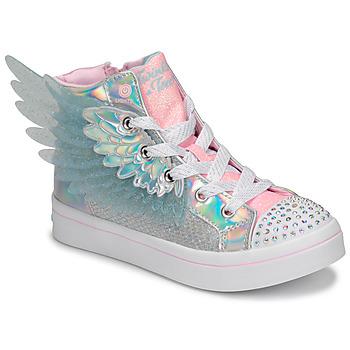 Topánky Dievčatá Členkové tenisky Skechers TWI-LITES 2.0 Strieborná / Ružová / Led
