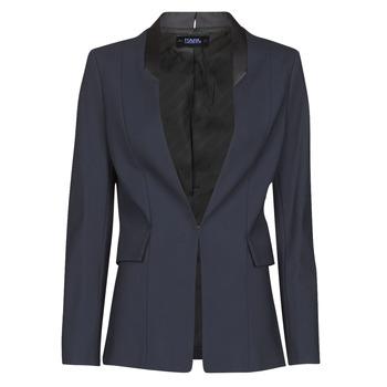 Oblečenie Ženy Saká a blejzre Karl Lagerfeld PUNTO JACKET W/ SATIN LAPEL Námornícka modrá / Čierna