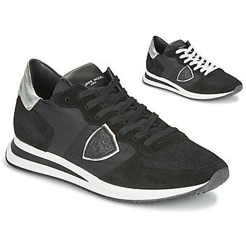 Topánky Ženy Nízke tenisky Philippe Model TROPEZ X BASIC Čierna / Strieborná
