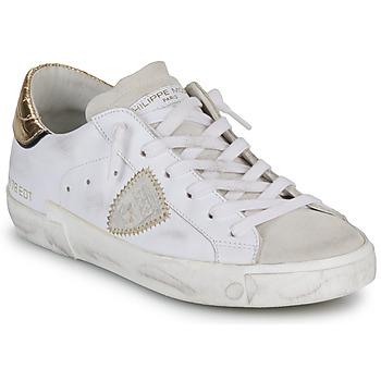 Topánky Ženy Nízke tenisky Philippe Model PARIS X VEAU CROCO Biela / Zlatá