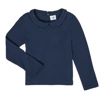 Oblečenie Dievčatá Tričká s dlhým rukávom Petit Bateau LOVING Námornícka modrá