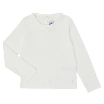 Oblečenie Dievčatá Tričká s dlhým rukávom Petit Bateau LOVING Biela