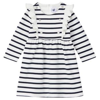 Oblečenie Dievčatá Krátke šaty Petit Bateau LEVRIER Biela / Námornícka modrá