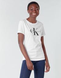 Oblečenie Ženy Tričká s krátkym rukávom Calvin Klein Jeans CORE MONOGRAM LOGO REG FIT Biela
