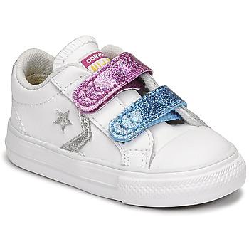 Topánky Dievčatá Nízke tenisky Converse STAR PLAYER 2V GLITTER TEXTILE OX Biela / Modrá / Ružová