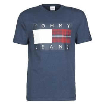 Oblečenie Muži Tričká s krátkym rukávom Tommy Jeans TJM PLAID CENTRE FLAG TEE Námornícka modrá