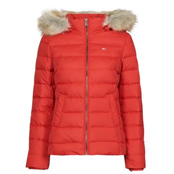 Oblečenie Ženy Vyteplené bundy Tommy Jeans TJW BASIC HOODED DOWN JACKET Červená