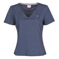 Oblečenie Ženy Tričká s krátkym rukávom Tommy Jeans TJW SLIM JERSEY V NECK Námornícka modrá