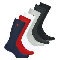 Doplnky Muži Ponožky Polo Ralph Lauren ASX110 6 PACK COTTON Čierna / Červená / Námornícka modrá / Šedá / Šedá / Biela