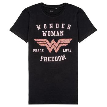 Oblečenie Dievčatá Tričká s krátkym rukávom Name it NKFWONDERWOMEN Čierna
