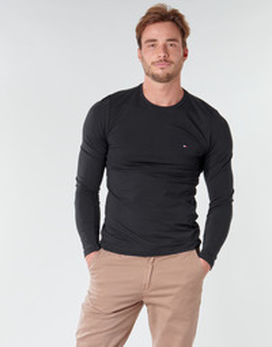Oblečenie Muži Tričká s dlhým rukávom Tommy Hilfiger STRETCH SLIM FIT LONG SLEEVE TEE Čierna
