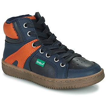 Topánky Chlapci Členkové tenisky Kickers LOWELL Námornícka modrá / Oranžová
