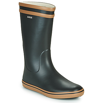 Topánky Ženy Čižmy do dažďa Aigle MALOUINE čierna / ťavia hnedá