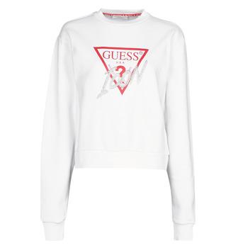 Oblečenie Ženy Mikiny Guess ICON FLEECE Biela