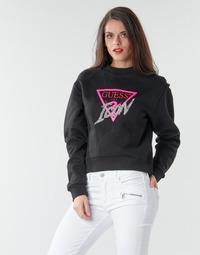 Oblečenie Ženy Mikiny Guess ICON FLEECE Čierna / Viacfarebná