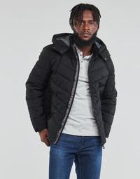 Oblečenie Muži Vyteplené bundy Guess STRETCH PUFFA HOODED Čierna