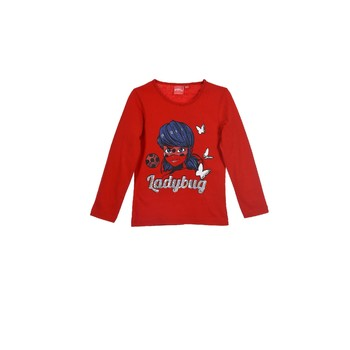 Oblečenie Dievčatá Tričká s dlhým rukávom TEAM HEROES  MIRACULOUS LADYBUG Červená