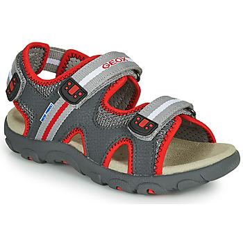 Topánky Chlapci Sandále Geox JR SANDALE STRADA Šedá / Červená