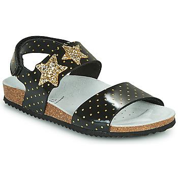 Topánky Dievčatá Sandále Geox J ADRIEL GIRL Čierna / Zlatá