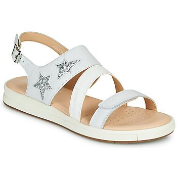 Topánky Dievčatá Sandále Geox J SANDAL REBECCA GIR Biela / Strieborná