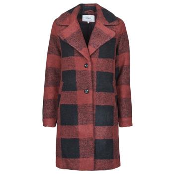 Oblečenie Ženy Kabáty Only ONLVICKI Červená / Čierna