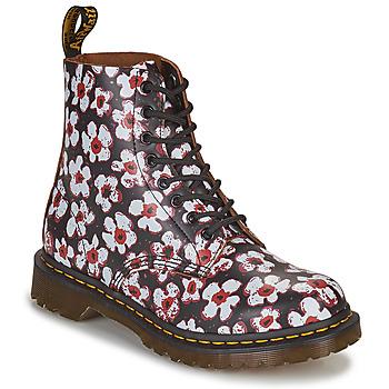 Topánky Ženy Polokozačky Dr Martens 1460 PASCAL Čierna / Biela / Červená